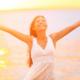 asian woman happy on beach