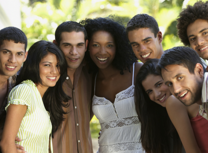 young adult mixed race and gender group of friends